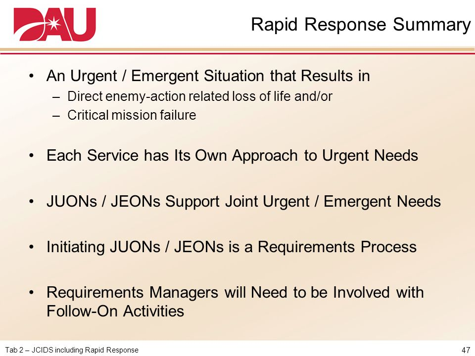 Rapid Response Summary