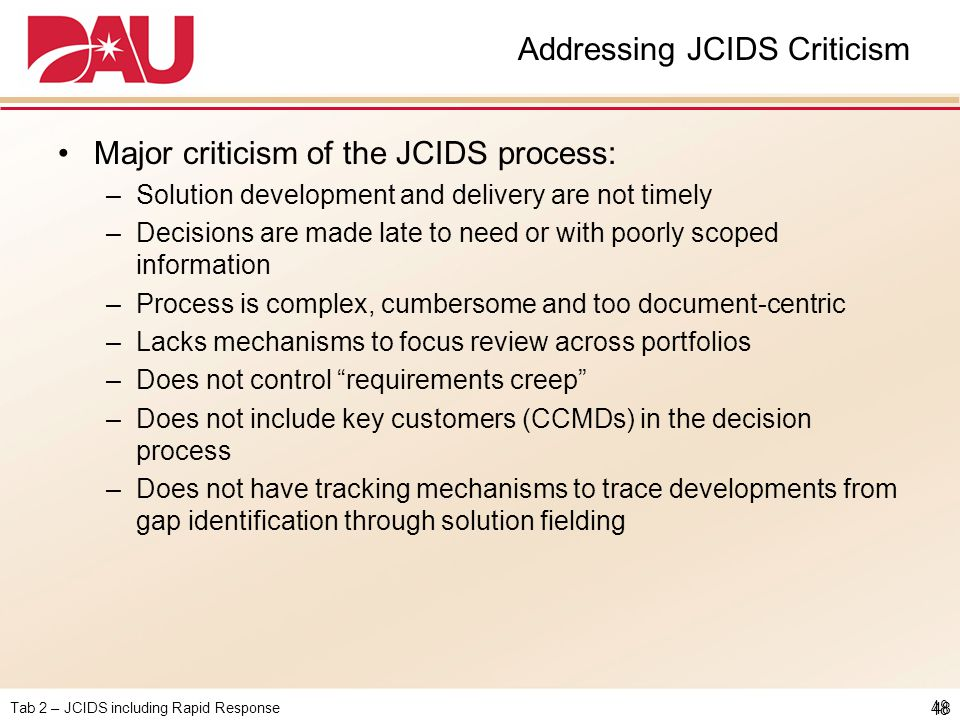 Addressing JCIDS Criticism