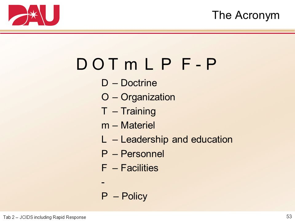 D O T m L P F - P The Acronym D – Doctrine O – Organization