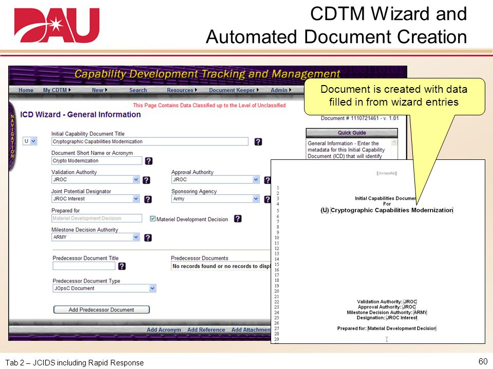 CDTM Wizard and Automated Document Creation