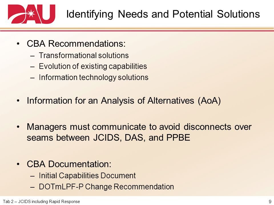 Identifying Needs and Potential Solutions