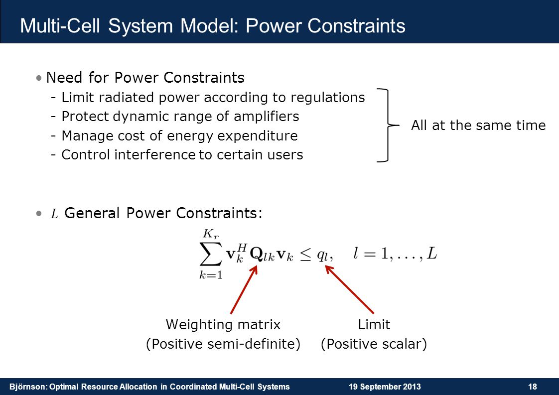 Multi-Cell System Model: Power Constraints