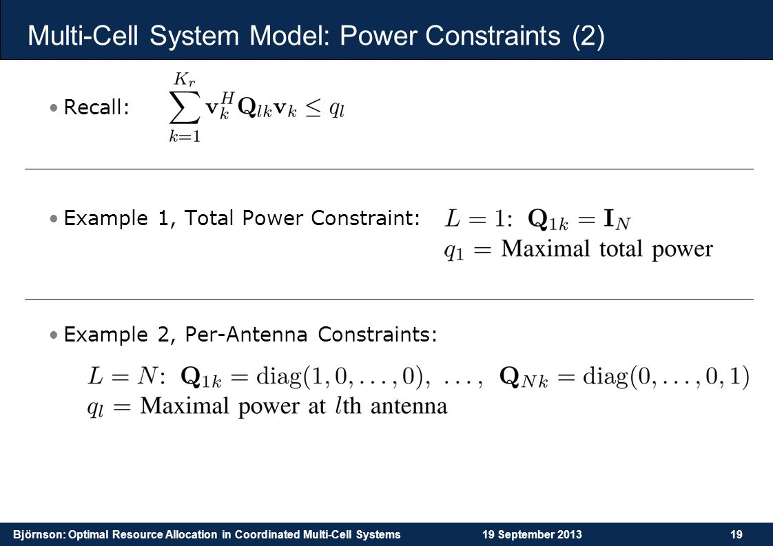 Multi-Cell System Model: Power Constraints (2)