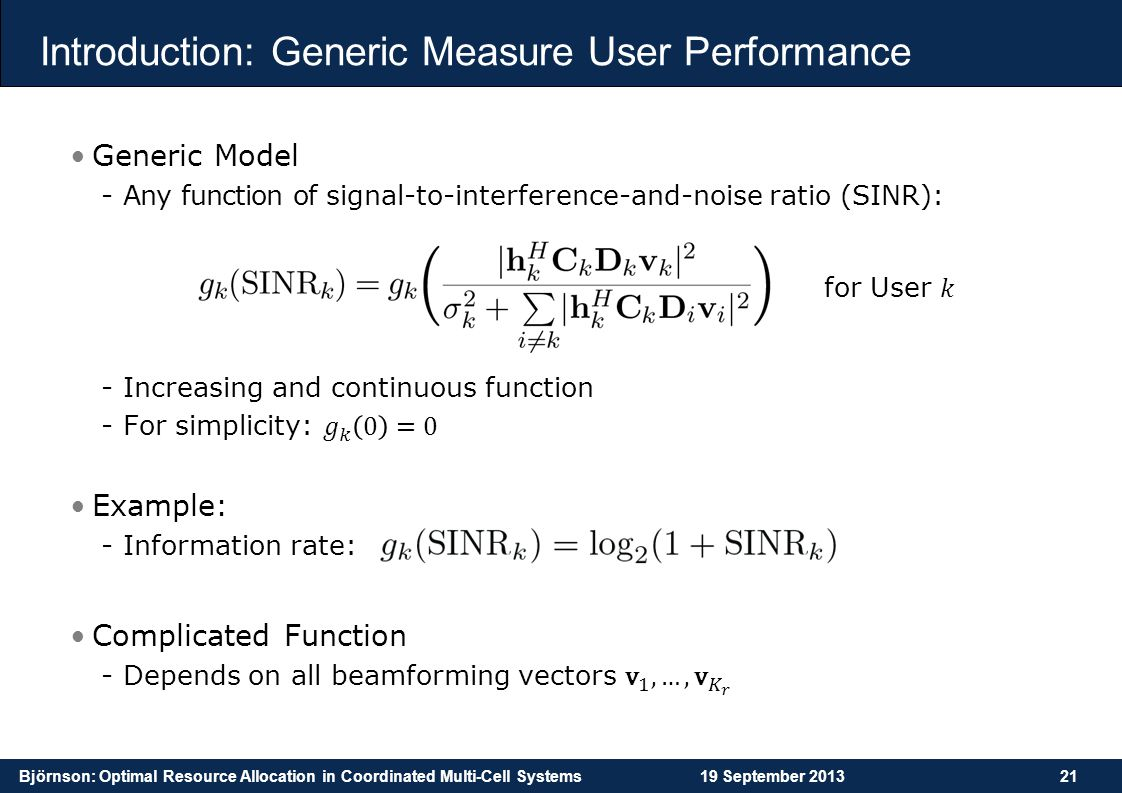 Introduction: Generic Measure User Performance