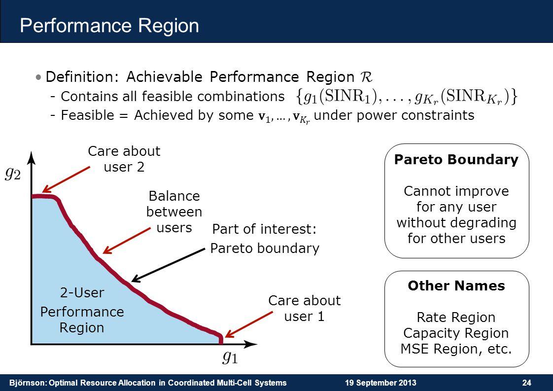 Performance Region Definition: Achievable Performance Region