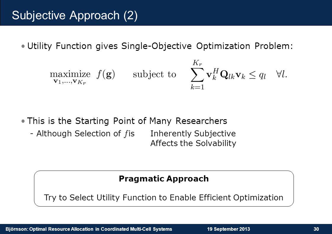 Subjective Approach (2)