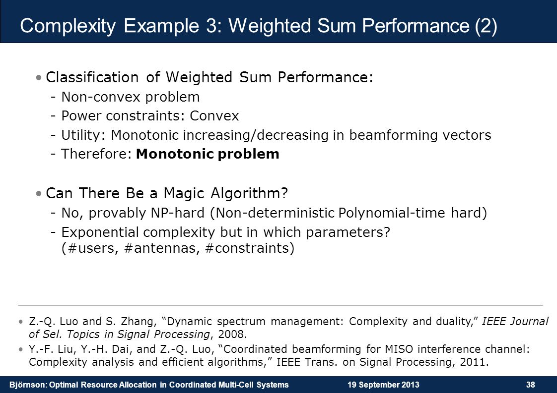 Complexity Example 3: Weighted Sum Performance (2)