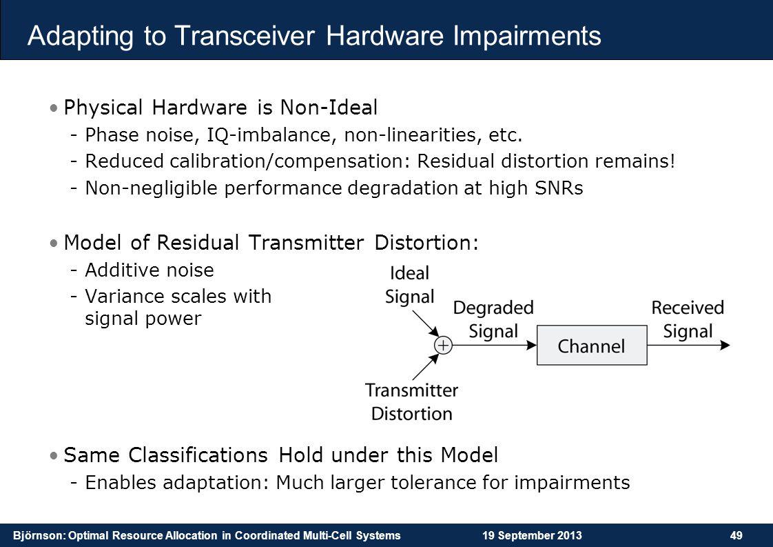 Adapting to Transceiver Hardware Impairments