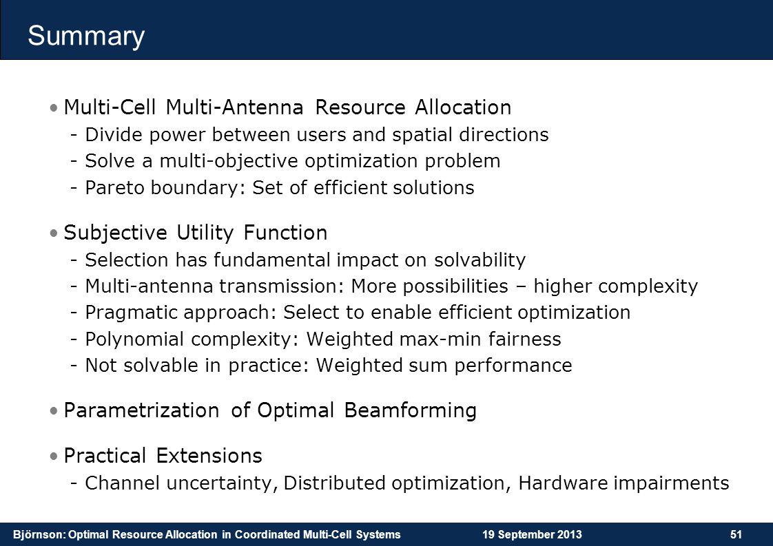 Summary Multi-Cell Multi-Antenna Resource Allocation