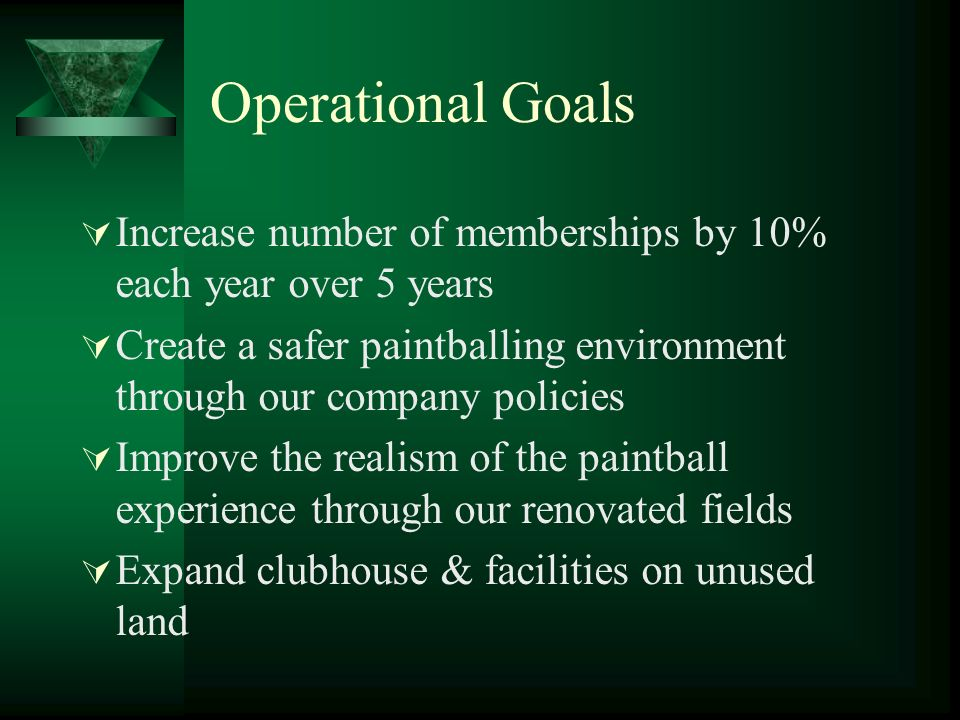 Operational Goals Increase number of memberships by 10% each year over 5 years. Create a safer paintballing environment through our company policies.
