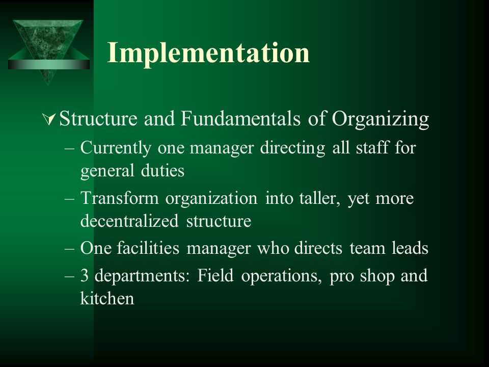 Implementation Structure and Fundamentals of Organizing