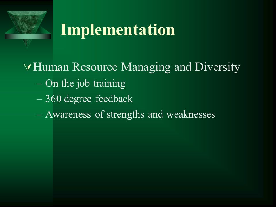 Implementation Human Resource Managing and Diversity