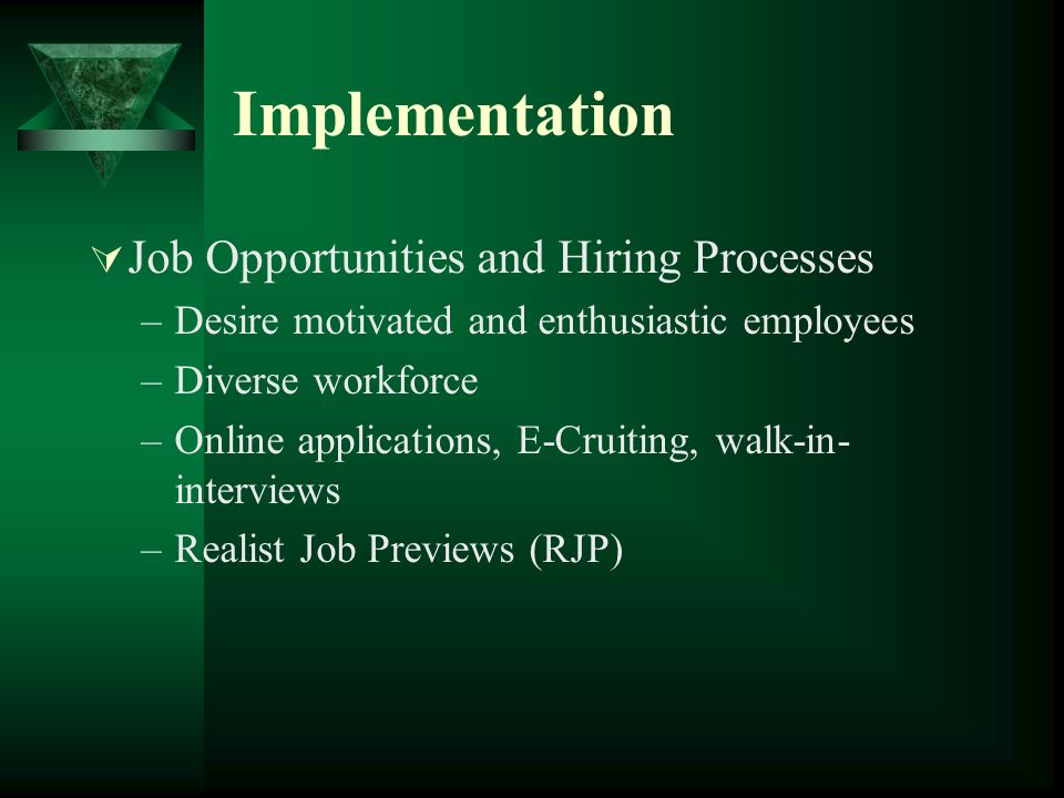 Implementation Job Opportunities and Hiring Processes
