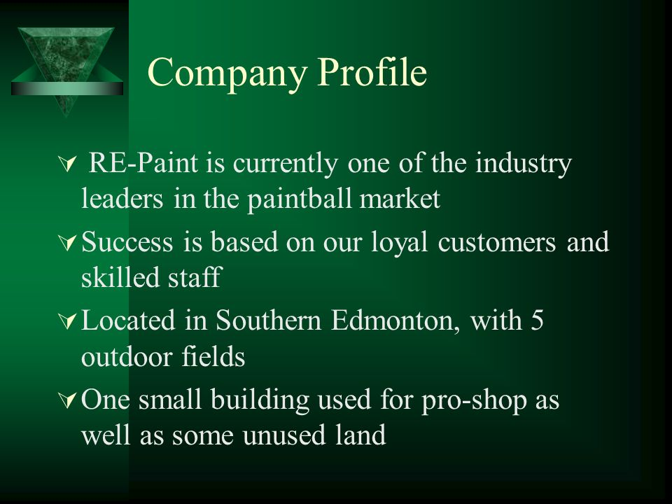 Company Profile RE-Paint is currently one of the industry leaders in the paintball market. Success is based on our loyal customers and skilled staff.