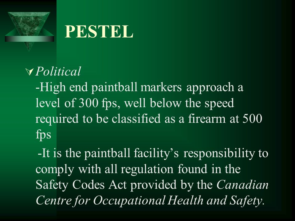 PESTEL Political -High end paintball markers approach a level of 300 fps, well below the speed required to be classified as a firearm at 500 fps.