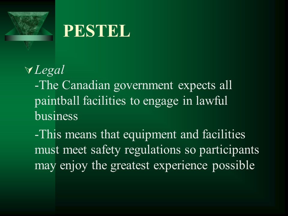 PESTEL Legal -The Canadian government expects all paintball facilities to engage in lawful business.