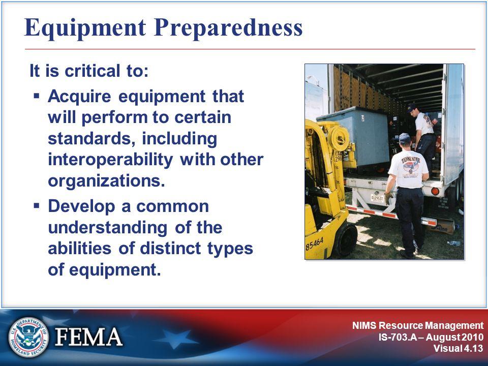Equipment Preparedness