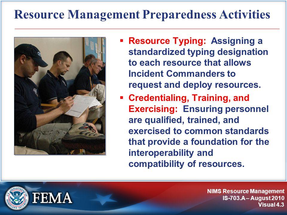 Resource Management Preparedness Activities