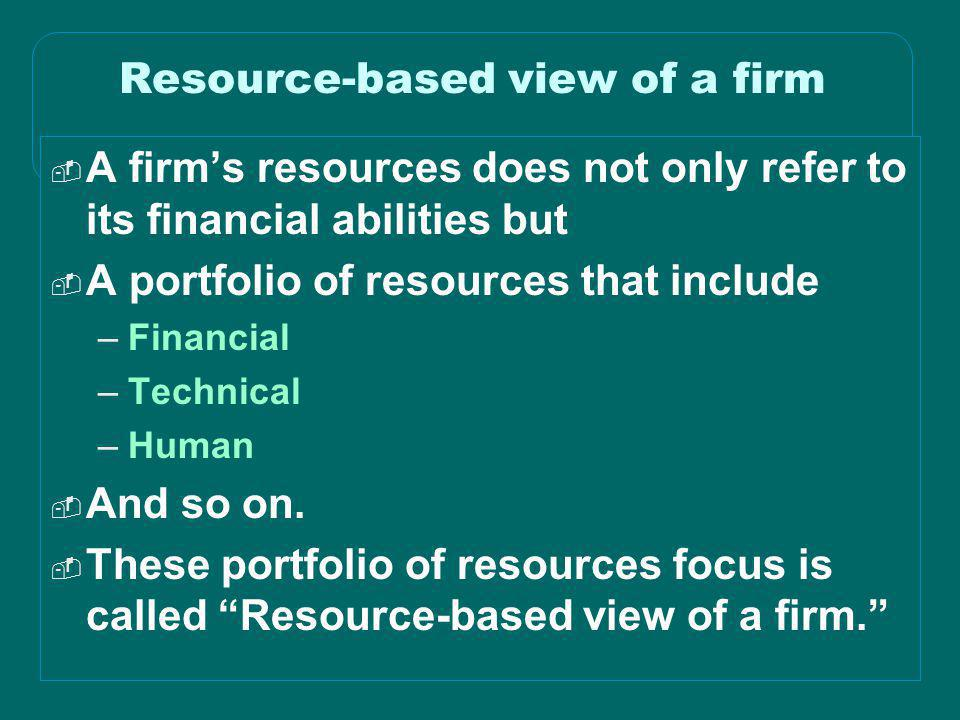 Resource-based view of a firm