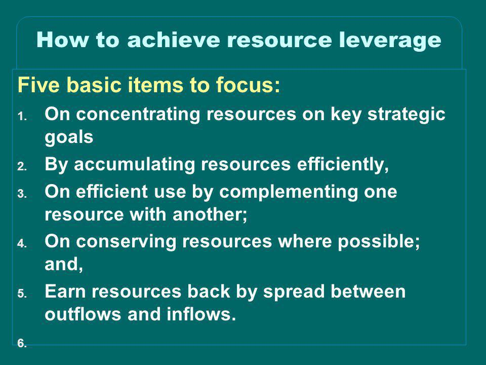 How to achieve resource leverage