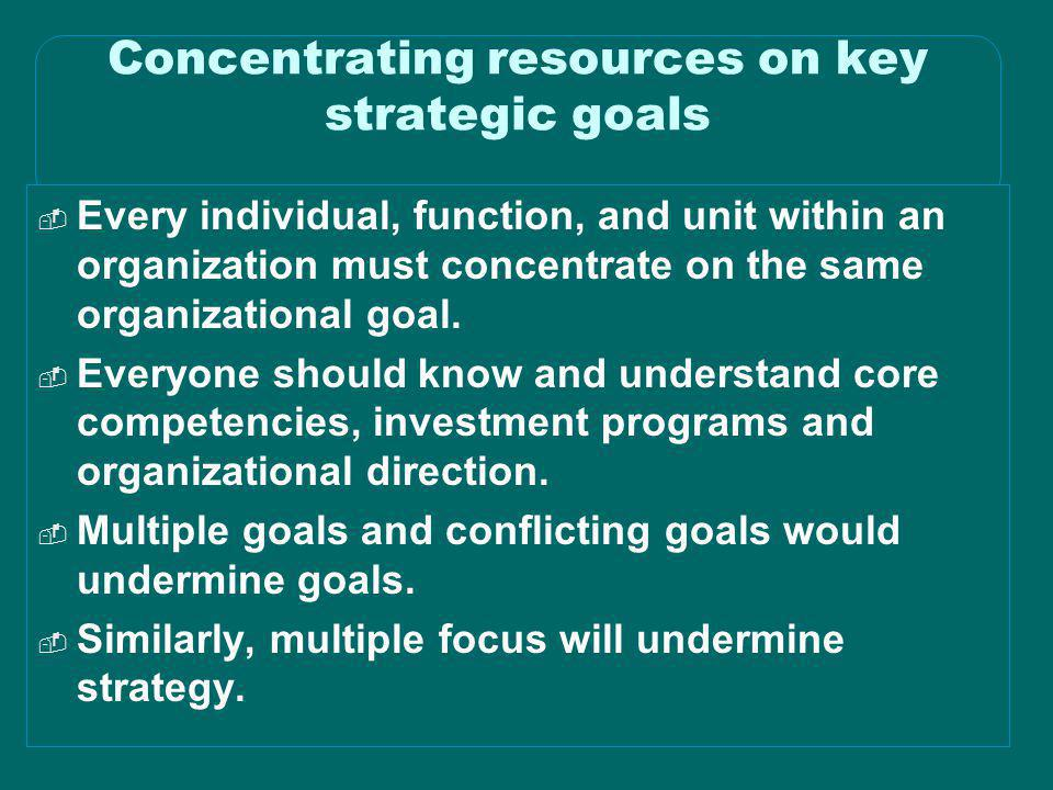 Concentrating resources on key strategic goals
