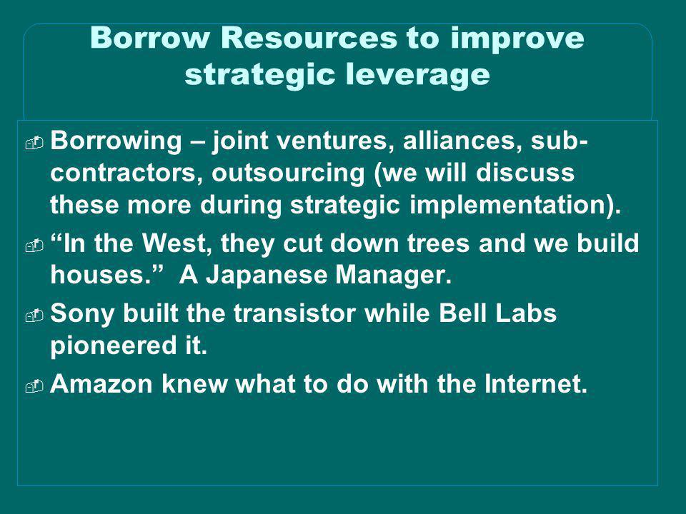Borrow Resources to improve strategic leverage