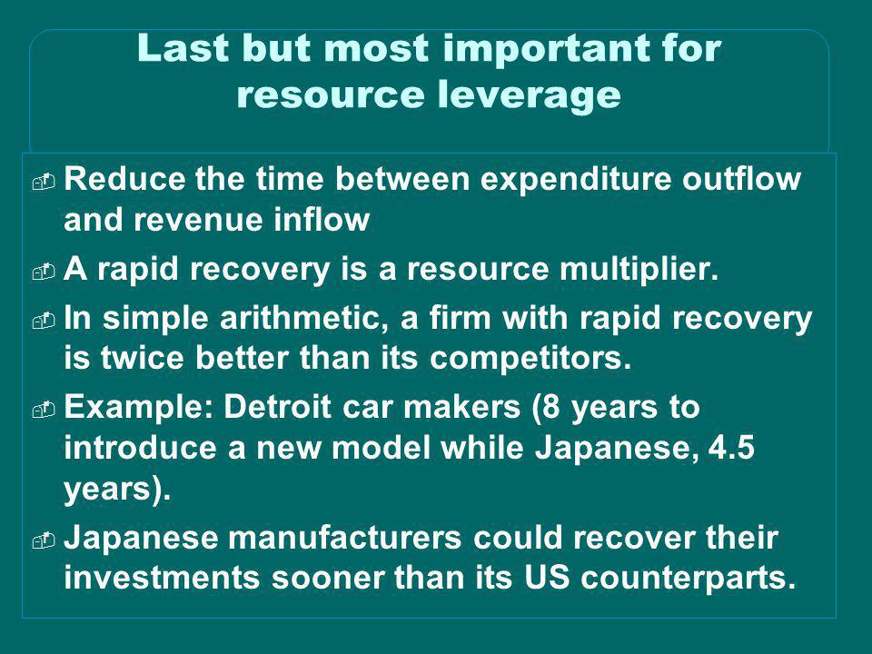 Last but most important for resource leverage