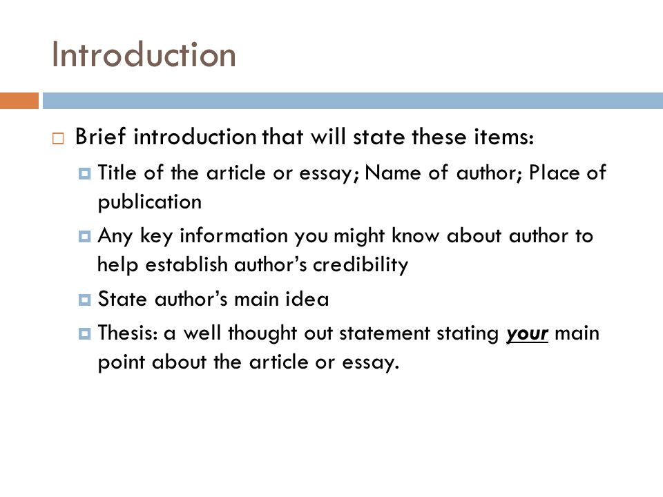 Introduction Brief introduction that will state these items: