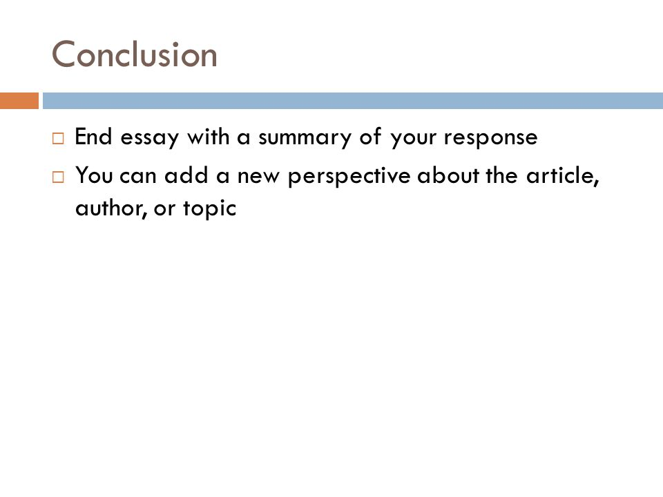 article summary response essay