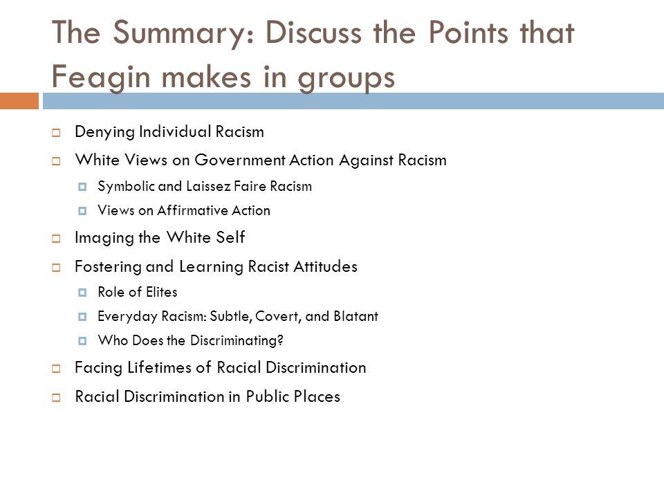 The Summary: Discuss the Points that Feagin makes in groups