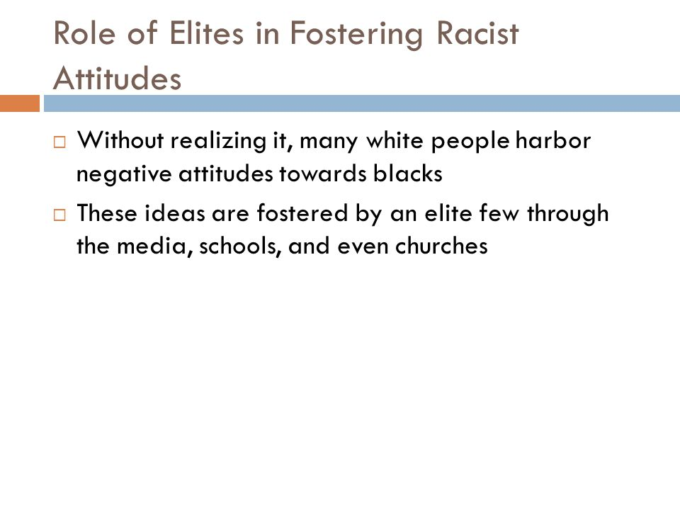 Role of Elites in Fostering Racist Attitudes