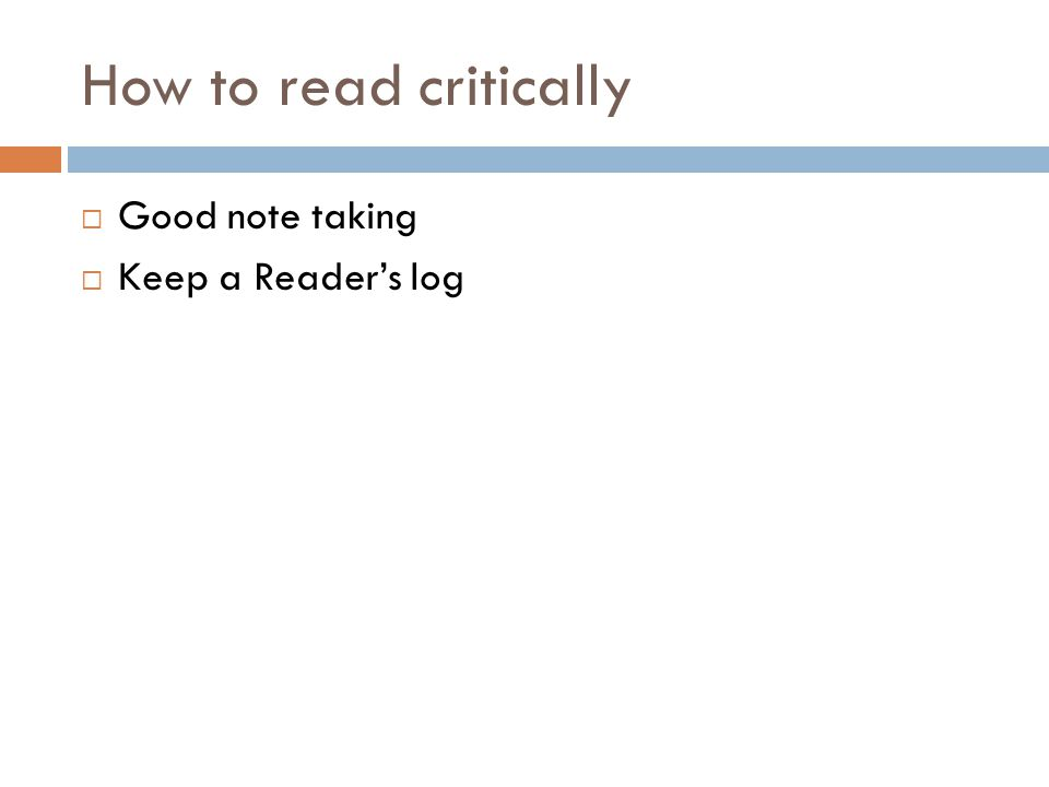 How to read critically Good note taking Keep a Reader's log