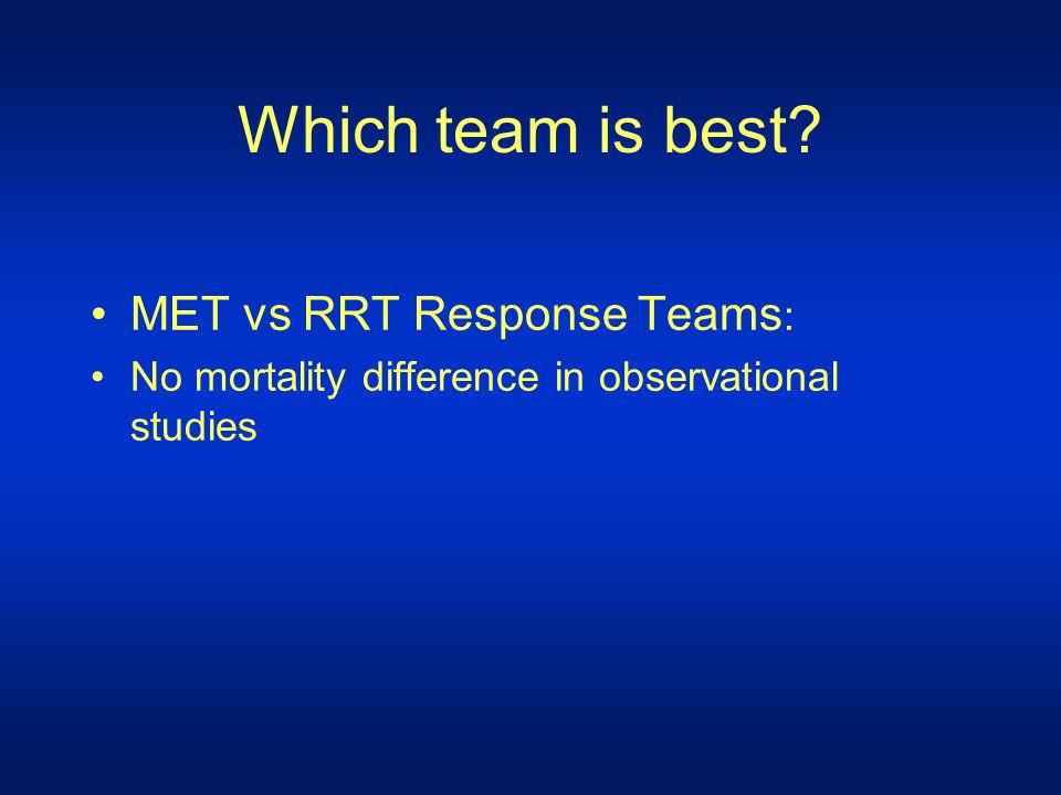 Which team is best MET vs RRT Response Teams:
