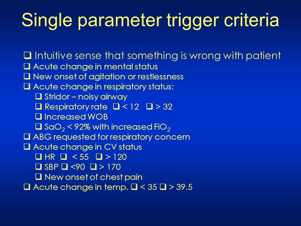 Single parameter trigger criteria