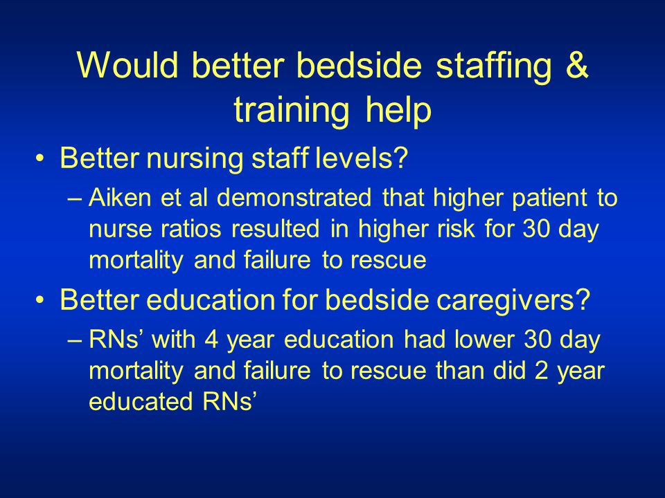 Would better bedside staffing & training help