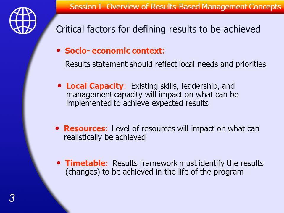 Critical factors for defining results to be achieved