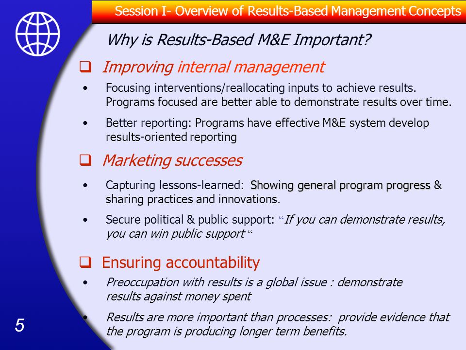 Why is Results-Based M&E Important