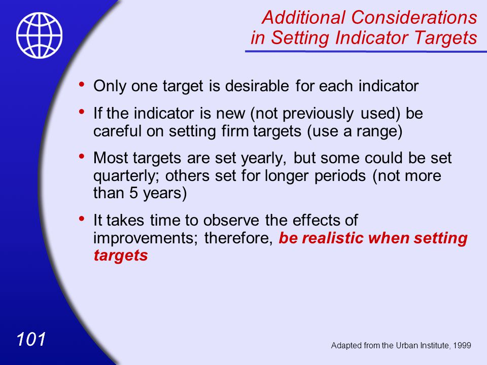 Additional Considerations in Setting Indicator Targets