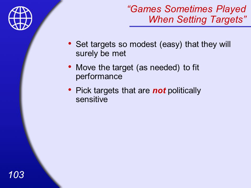 Games Sometimes Played When Setting Targets