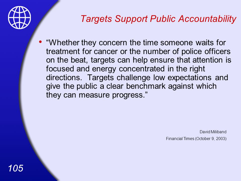 Targets Support Public Accountability