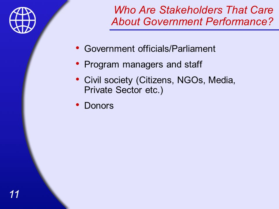 Who Are Stakeholders That Care About Government Performance