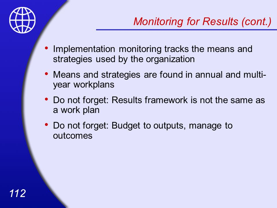 Monitoring for Results (cont.)