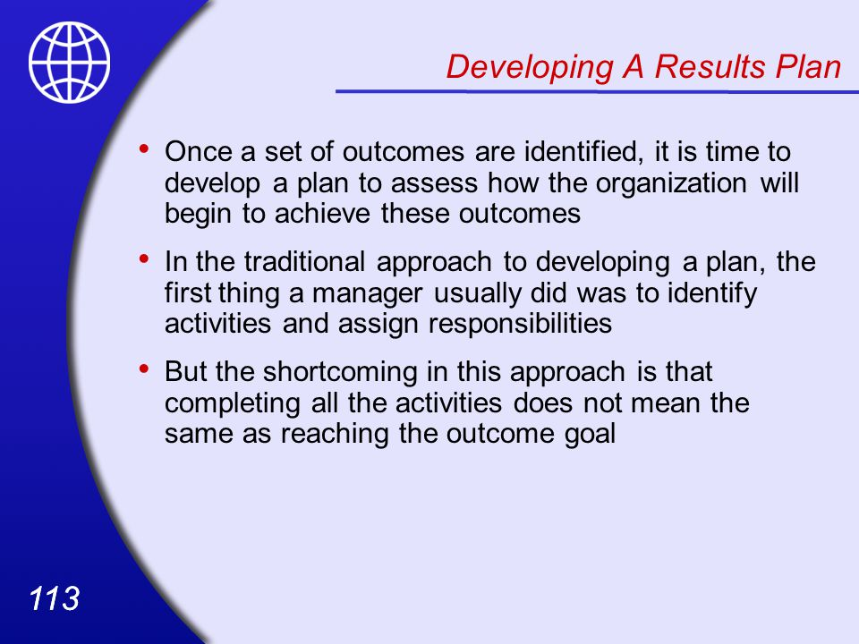 Developing A Results Plan