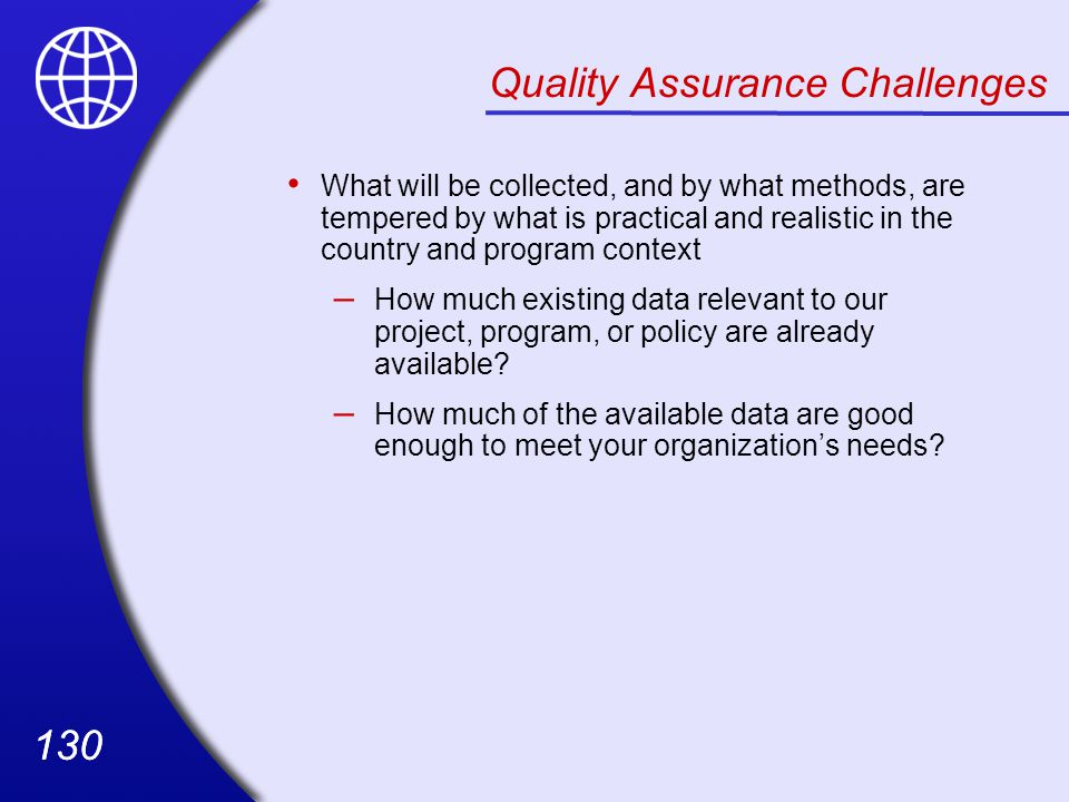 Quality Assurance Challenges