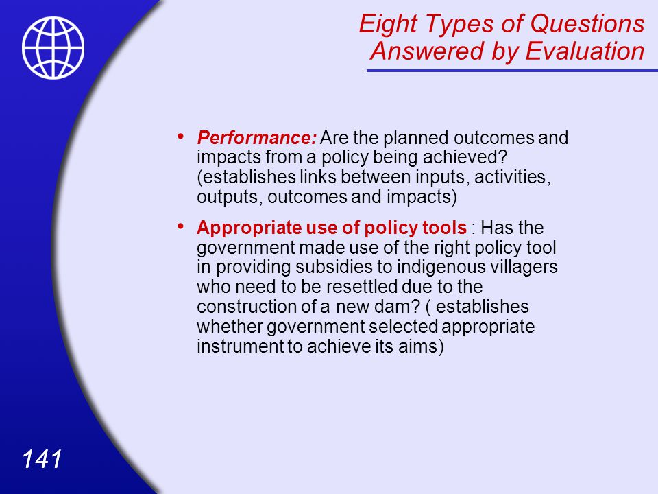 Eight Types of Questions Answered by Evaluation