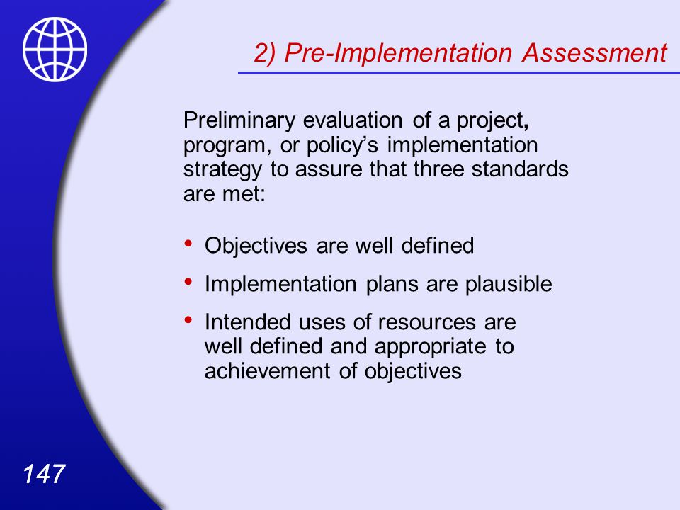 2) Pre-Implementation Assessment