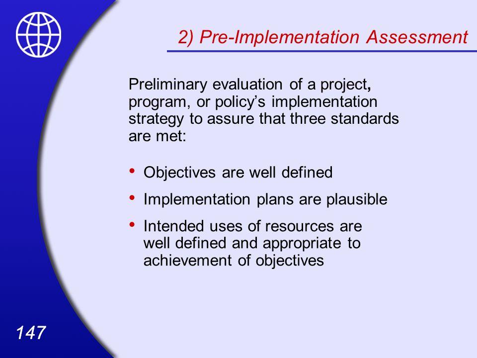 2) Pre-Implementation Assessment