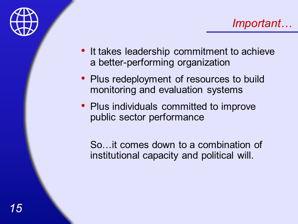 Important… It takes leadership commitment to achieve a better-performing organization.