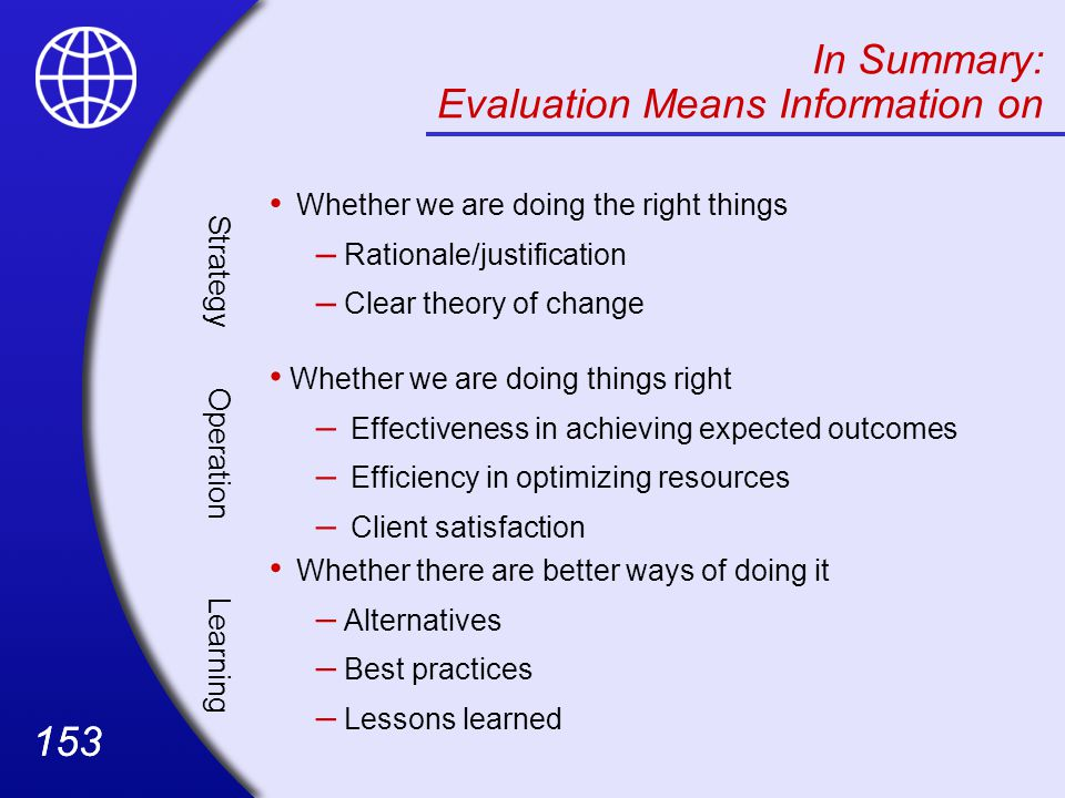 Evaluation Means Information on