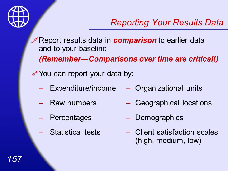 Reporting Your Results Data